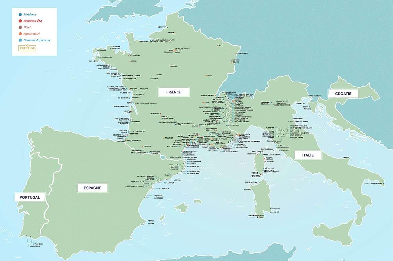Odalys Carte des résidences en Europe LD